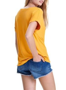 Camiseta Only Moster Amarillo Mujer