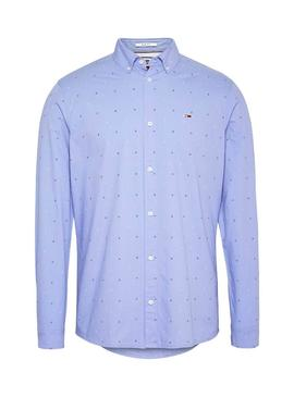 Camisa Tommy Jeans Disty Print Azul Para Hombre