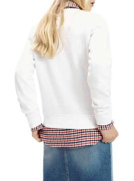 Sudadera Tommy Jeans Flag Crew Blanco Mujer